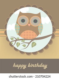 Happy birthday card with owl and tree