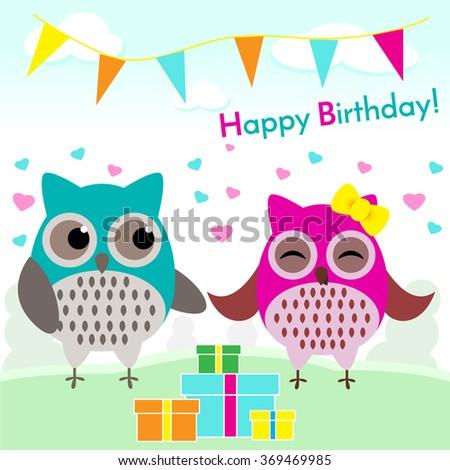 Happy Birthday Card Owls Stock Vector Royalty Free 369469985