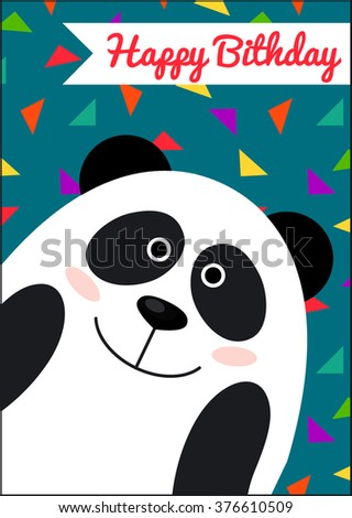 happy birthday card panda card template stock vector royalty free
