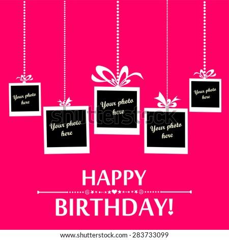 Happy Birthday Card Photo Frame Vector Stock Vector Royalty Free