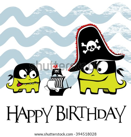 Happy Birthday Card Pirate Stock Vector Royalty Free 394518028