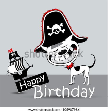 Happy Birthday Card Pirate Dog Funny