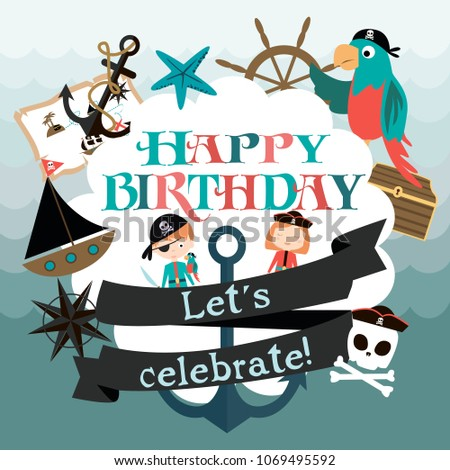 Happy Birthday Card Pirate Party Vector Stock Vector Royalty Free