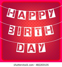 Happy Birthday card. Red background with polka dots and letters. Vector illustration