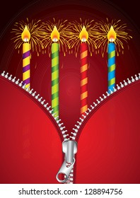 Happy Birthday card with red zipper vector illustration