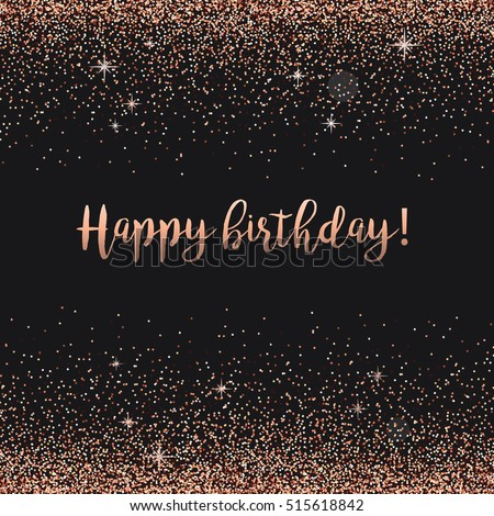 Happy Birthday Card Rose Gold Confetti Stock Vektorgrafik