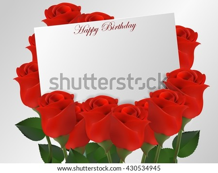 Happy Birthday Card With Roses Flower3D Illustration