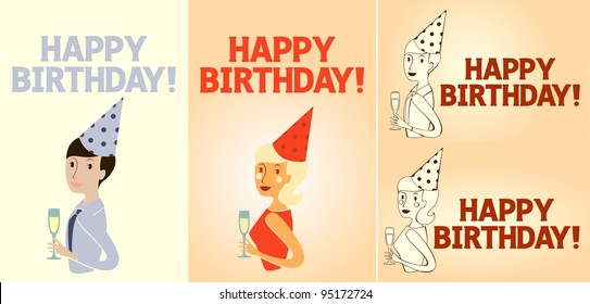 Happy Birthday card set in different models, vertical and horizontal.