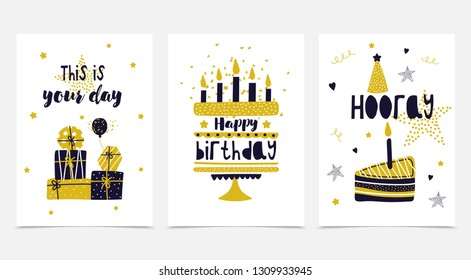 Happy birthday card set. Happy birthday, hooray, this is your day. Golden cake with candles, a piece of cake, gifts, balloon. Vector illustration. Congratulation.