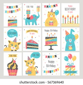 Happy Birthday card set. Vector illustration