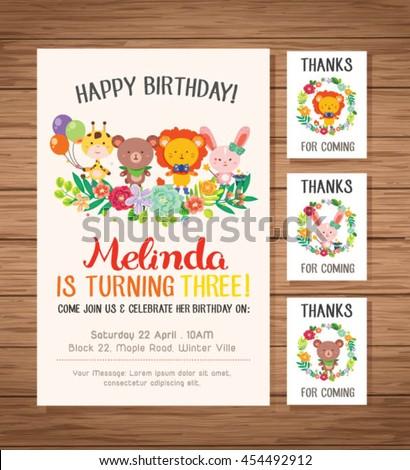 Happy Birthday Card Sets Cute Animals Stock Vector Royalty Free