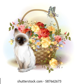 Happy birthday card. Siamese kitten, butterfly and basket with roses.