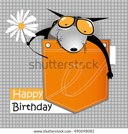 Happy Birthday Card Smile Dog Stock Vector Royalty Free 490698082