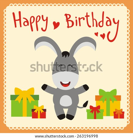 Happy Birthday Card Smiling Donkey Gifts Stock Vector Royalty Free