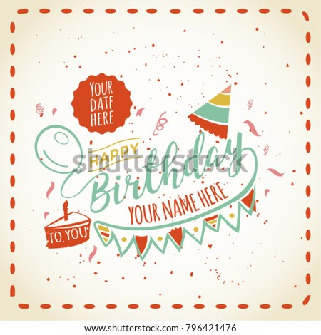 Happy Birthday Card Space Your Name Stock Vector Royalty Free