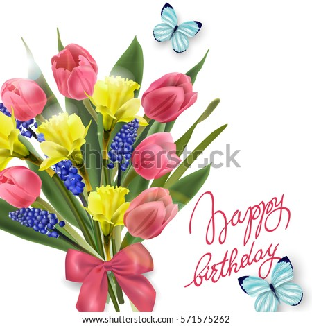 Happy Birthday Card Spring Flowers Tulips Stock Vektorgrafik