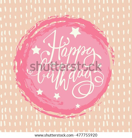 Happy Birthday Card Square Printing Pastel Colors Lettering Hand Made Stars