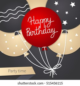 Happy Birthday card template with balloons. Vector illustration