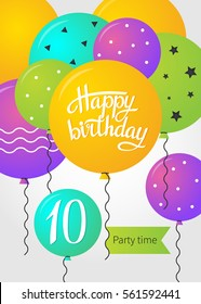 Happy Birthday card template with balloons. 10 years. Vector illustration