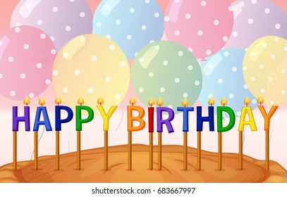 Happy Birthday card template with balloons and candles illustration