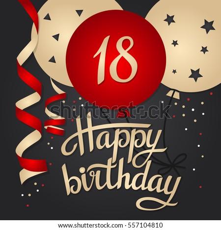 happy birthday 18 Happy Birthday Card Template Balloons 18 Stock Vector (Royalty  happy birthday 18