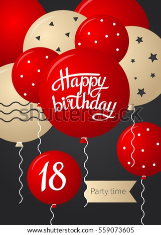 Happy Birthday Card Template With Balloons 18 Years Vector Illustration
