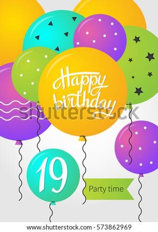 happy birthday card template balloons 19 stock vector royalty free