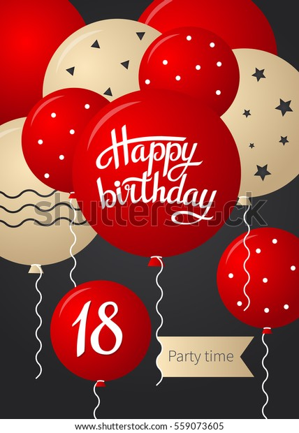 Tremendous Happy Birthday Card Template Balloons 18 Stockvector Rechtenvrij Funny Birthday Cards Online Fluifree Goldxyz