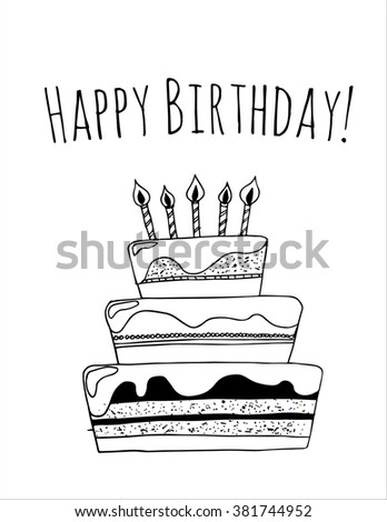 happy birthday card template black cake stock vector royalty free