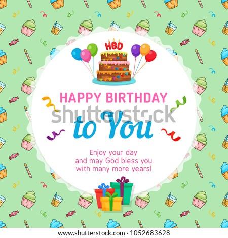 Happy Birthday Card Template Birthday Cake Stock Vector Royalty