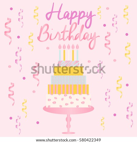 Happy Birthday Card Template With Cake Candles Ribbons And Confetti Vector Illustration
