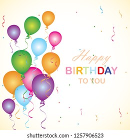Happy birthday  card template with colorful balloons. - Vector Design
