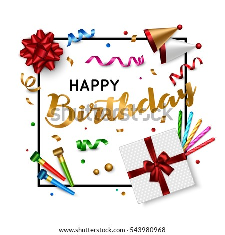 Happy Birthday Card Template With Gift Box Candle Confetti Holiday Background Top