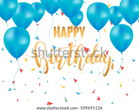 Happy Birthday Card Template Golden Brush Lettering For