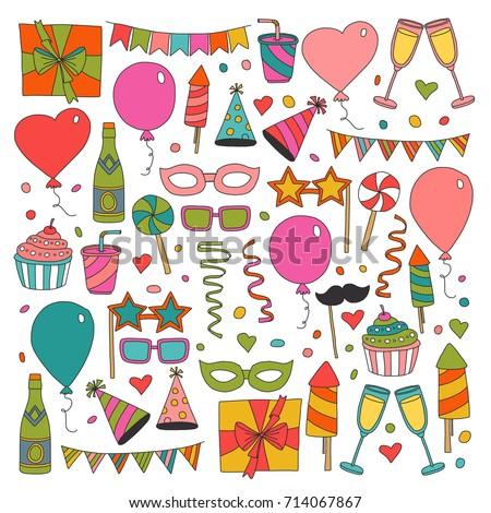 Happy Birthday Card Template Kids Drawing Stock Vektorgrafik
