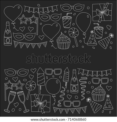 Happy Birthday Card Template Kids Drawing Stock Vector Royalty Free