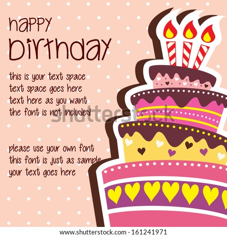 Happy Birthday Card Template With Large Layered Cake And Candle
