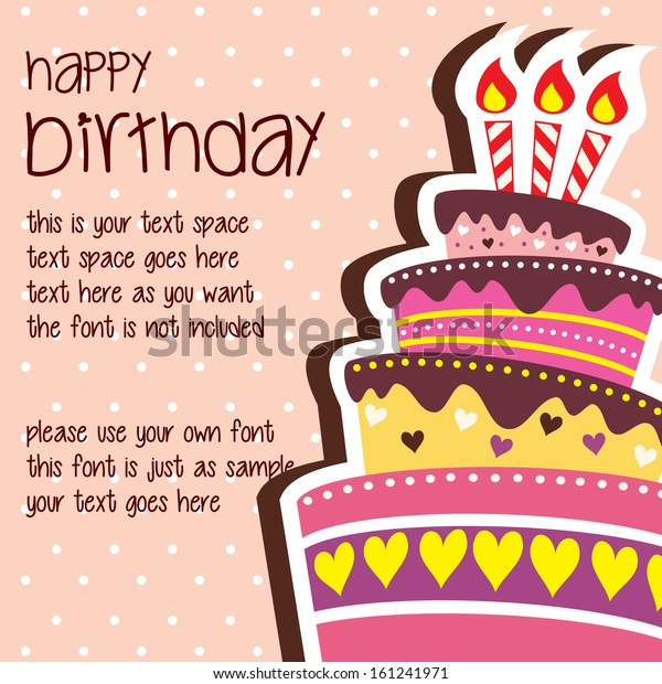 Happy Birthday Card Template with Large Layered Cake and Candle - Vector with Text Space