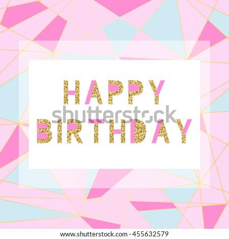 Happy Birthday Card Template Modern Geometrical Stock Vector