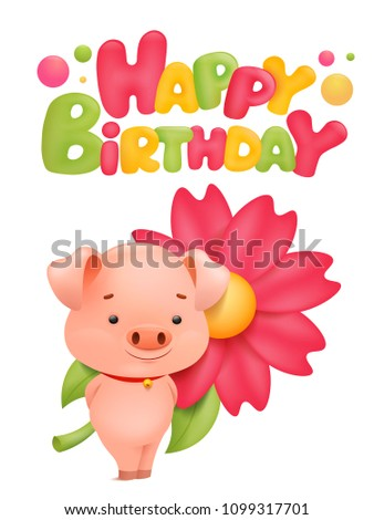Happy Birthday Card Template With Pig Cartoon Character Vector Illustration