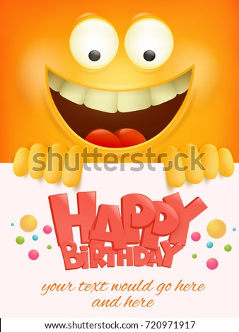 Happy Birthday Card Template Yellow Smiley Image Vectorielle De
