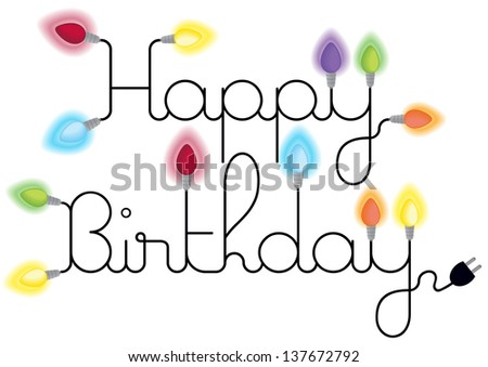 Happy Birthday Card Text Lighting Colorful Stock Vector Royalty