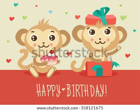 Happy Birthday Card With Two Funny Monkey Cake And Gift Box Cute Cartoon Animal Vector