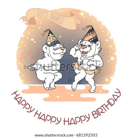Happy Birthday Card Two Funny Bears Stock Vector Royalty Free