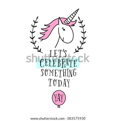 Happy Birthday Card Unicorn Baby Shower Stock Vector Royalty Free