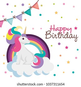 happy birthday card with unicorn character