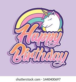 happy birthday card with unicorn on rainbow vector illustration