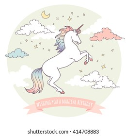 Happy birthday card with a unicorn, stars and clouds. Wishing you a magical birthday!