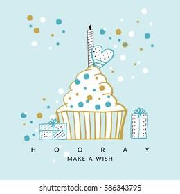 Happy Birthday card. Vector hand drawn illustration.