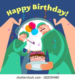 Happy birthday card. Vector illustration
